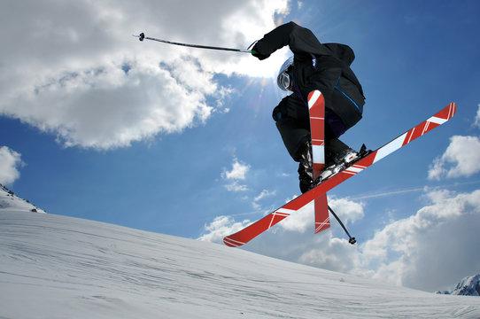 Ski jumper with crossed skis