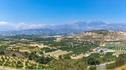Panorama of Messara Plain on Crete island, Greece