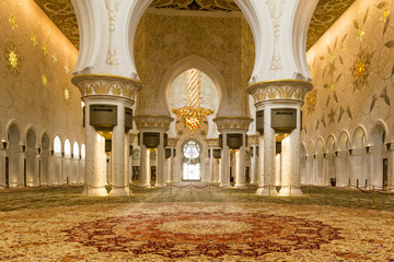 Interior picture of the sheik zayed mosque prayer hall without people