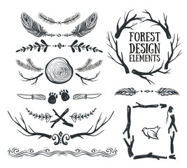 Set of hand drawn tribal frames and dividers. Forest design.