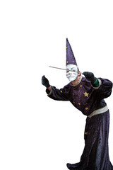 Man dressed as a wizard, isolated on white background.