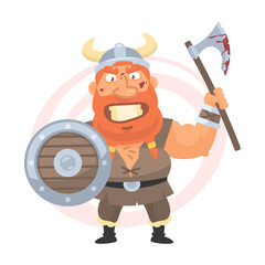 Angry viking holds an axe