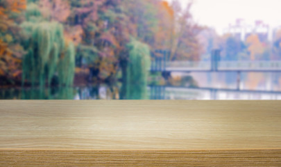desk on the background of the nature in autumn