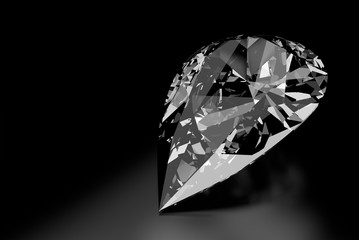 Diamond Shaped like a Teardrop on Black Background