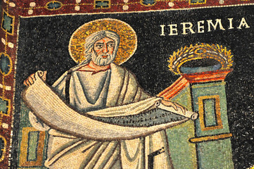 ancient byzantine mosaic of the Prophet Jeremiah