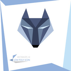 low poly animal icon. vector wolf