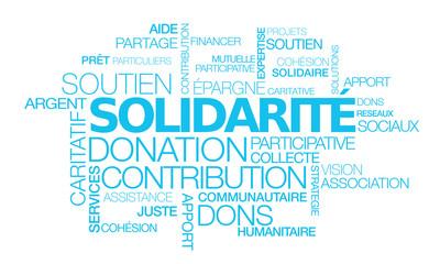 Solidarité dons contribution soutien participatif nuage de mots bleus