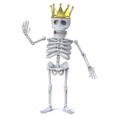 3d Skeleton wears a gold crown