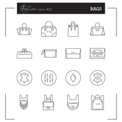 Bags icons. Women Bags icons, bags shop icons. Icons design for