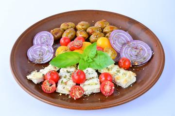 Greek breakfast over white
