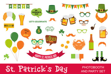 St. Patricks Day vector design elements set. icons and photo booth props