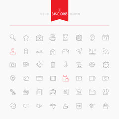 Basic, universal, interface, media and more. Thin and line icons
