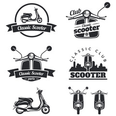 Set of classic scooter emblems, icons and badges. Urban, street