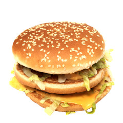 The real photo of the real hamburger,  isolated on the white.