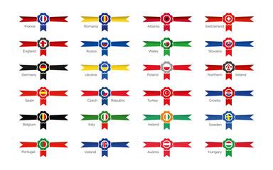 Moderne Gewinner Embleme aller Teilnehmer in Frankreich 2016