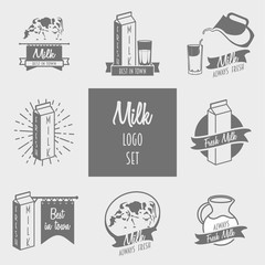 Set of Milk Logo and Labels Design templates