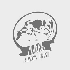 Logo or label template with black and white cow and text always fresh milk