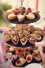 mini tarts with chocolate vanilla and cherry