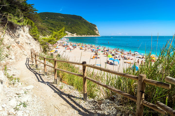 Sirolo beach in Conero national park, Italy