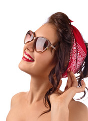 young beautiful woman with sunglasses