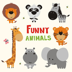 funny african animals, vector illustration set