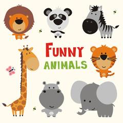 funny african animals, vector illustration set