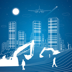 Building scene, sand dunes, mountains, desert, night city on background, infrastructure illustration, airplane fly, white lines, vector design art