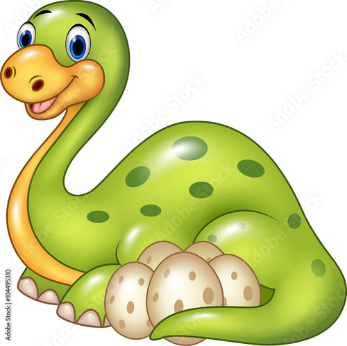 Cartoon happy mother with egg dinosaur isolated on white background