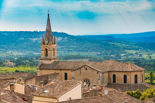 Beautiful church in Bonnieux village, Provence, France. Architec