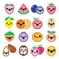 Kawaii fruit and nuts cute characters design