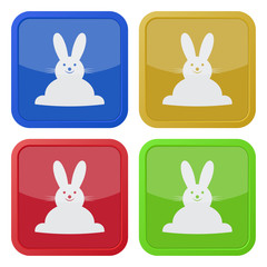 set of four square icons with Easter bunny