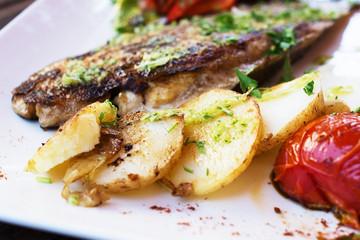 Dorado fish fillet with vegetables