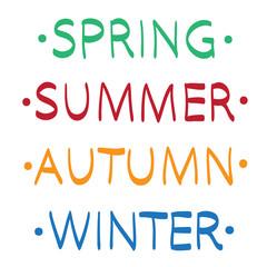 Spring summer autumn winter hand drawn vector