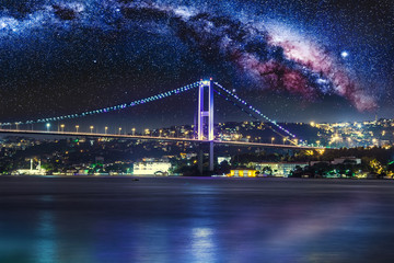 Foto op Plexiglas Panoramafoto s Bosphorus Bridge at night, Istanbul