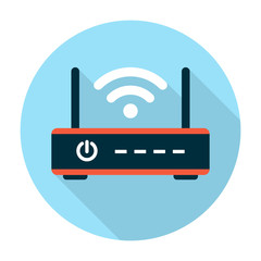 Wifi router icon flat