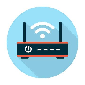 Wifi router icon flat