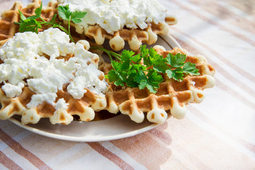 Homemade waffles with cheese and herbs