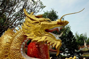 Bang Saen, Thailand - January 7, 2010:  Face of a giant gilded dragon figure at the seaside Guan-Yin Buddha Chinese temple at Sam Muk Hill