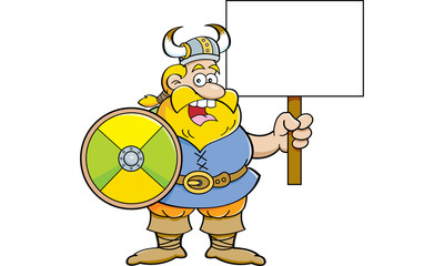 Cartoon illustration of a viking holding a shield and a sign.