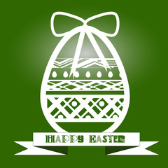 Illustration vintage egg with a white pattern on a green background Illustration vintage egg with a white pattern on a green background with a festive bow and the words