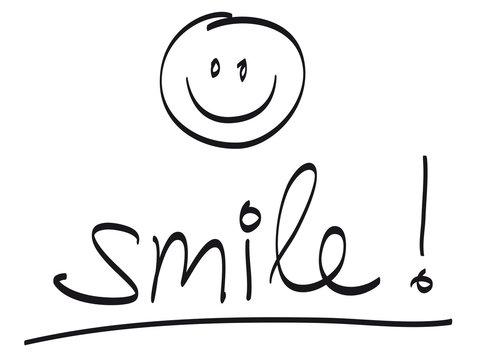 """Handschrift: """"smile!"""" mit handgezeichnetem Smiley / schwarz-weiß, Vektor, freigestellt"""
