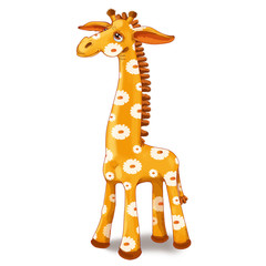 Toy giraffe with spots in the flower