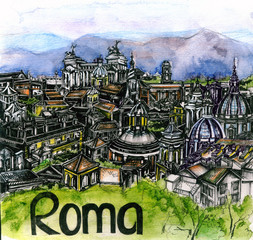 the panoramic view of Roma watercolor of european union
