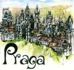 the panoramic view of Praga watercolor of european union