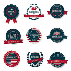 Memorial Day greeting card ,badge and labels,Vector EPS10.