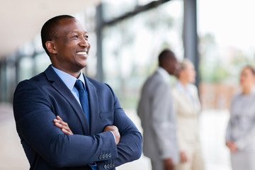 african american businessman looking away