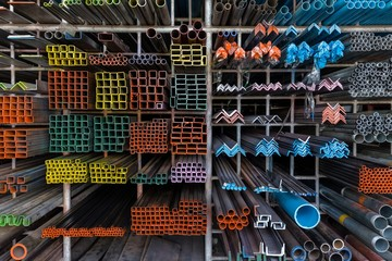 Metal shelves in DIY store