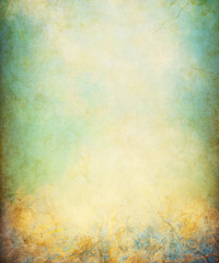 A grunge paper background with cracks and stains.  Image displays a distinct paper grain and texture at 100 percent.