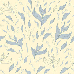 Floral seamless pattern with rbeautiful whitish grass and flowers. Quiet summer colors.