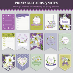 Vintage Pansy Flowers Card Set - for birthday, wedding, baby shower